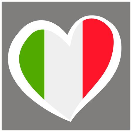 Italy Vector Flag Inside Heart. Shape Graphic Element Illustration Template Design.