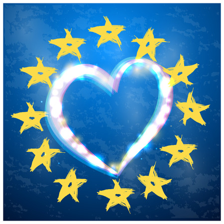 the European Union symbol with heart on blue background