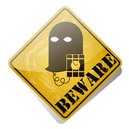 forbidding: Terrorism is forbidden. Red forbidding sign for terrorist organizations. Stop terrorist. banned mask terrorist