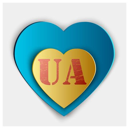 Love Ukraine.  Flag Heart Glossy Button Çizim