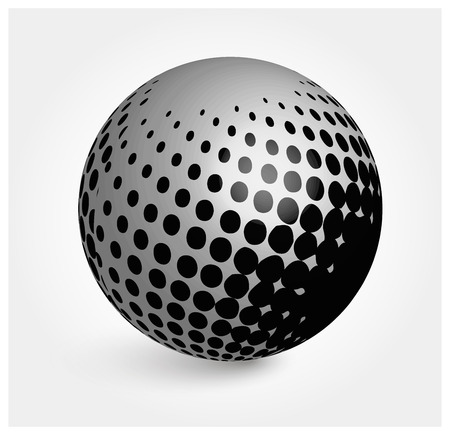 White sphere. White ball. Realistic vector. 3d vector. Vector illustration. Çizim