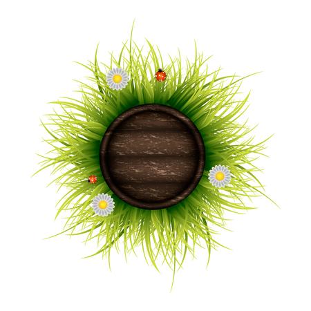Wooden board on the green bush. Stock illustration.