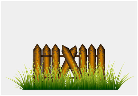 new realistic grass on wooden planks background can use like natural design Stock Illustratie