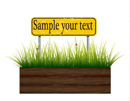 Empty billboard grass below. Stock Illustratie