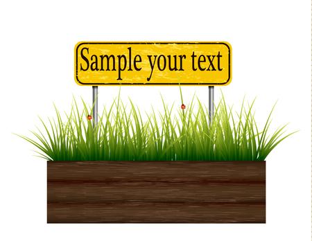 Empty billboard grass below. Illustration