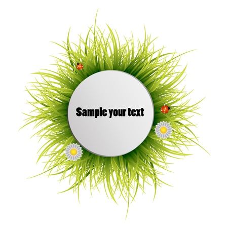 Happy Earth Day. Round frame from a grass on a white background. Vector illustration.Round grass frame.