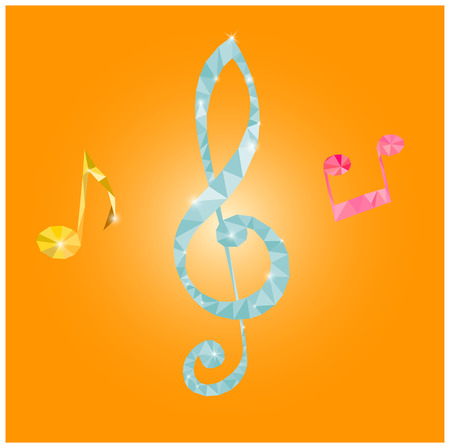 Origami musical note isolated on white background Иллюстрация
