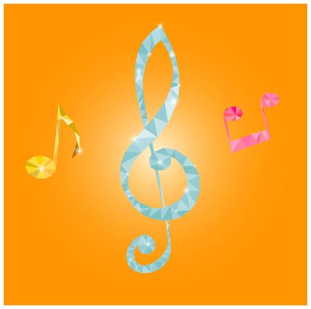 Origami musical note isolated on white background Illustration