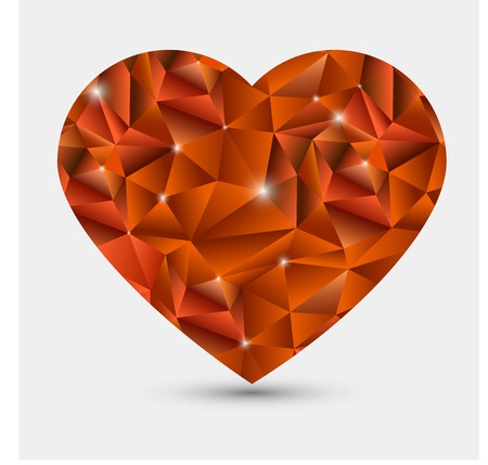 red heart in love polygonal low poly.