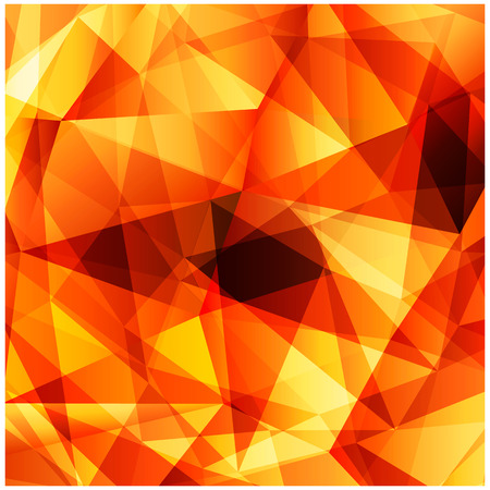 Vector square background with modern polygonal pattern. Saturated bright colors, monochrome gradient for advertising, web design, banners and posters. Warm yellow with splashes of red and orange. Stock Illustratie
