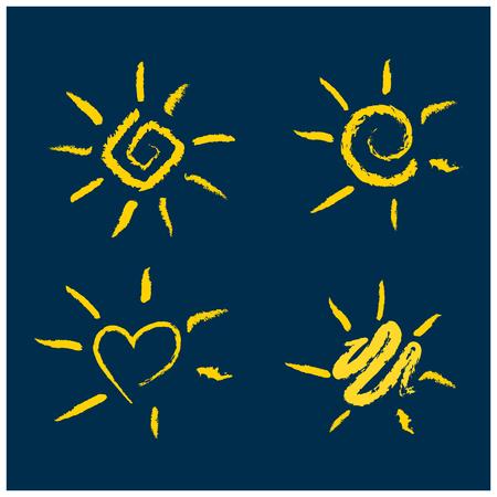 Set of handwritten sun symbols