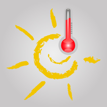 thermometer with sun, snow and rain (weather) Stock Illustratie