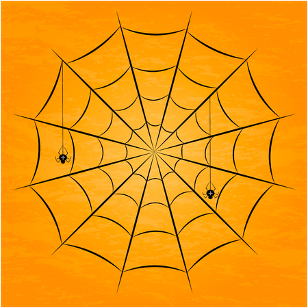 Set of halloween black spider with nets. Vector illustration.