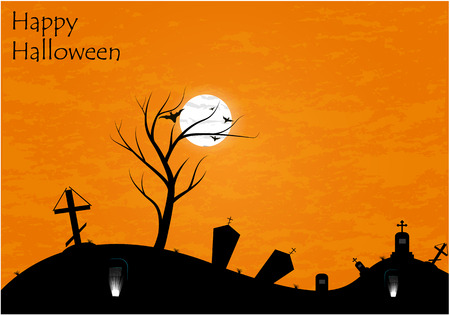 Haunted graveyard in the woods - Halloween greeting card