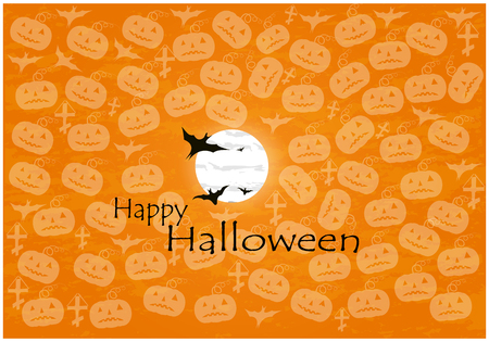 Halloween background of cheerful pumpkins.