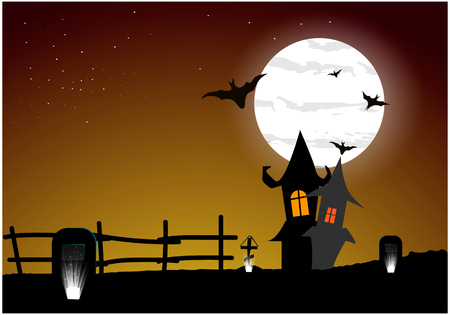 Scary Halloween house on night background with a full moon behind - Vector illustration