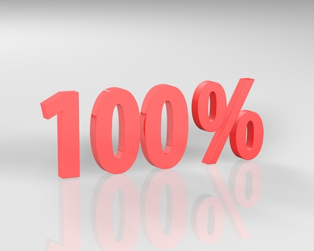 3D rendering of a 100 percent in red letters on a white background Фото со стока