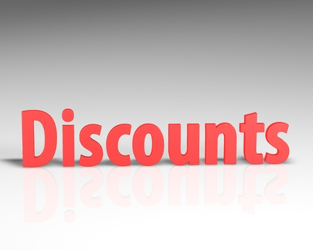 3D DISCOUNT word on white background 3d rendering