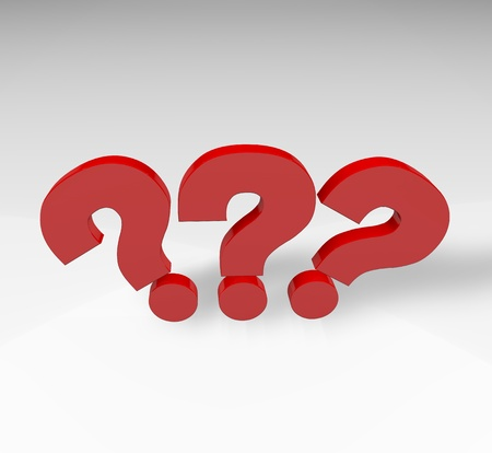 Red question mark isolated over white background with reflection and shadow