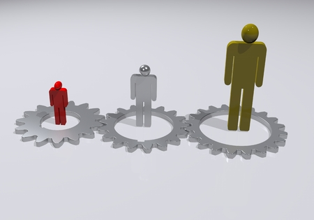 3d people running on cogwheels and one is the leader Standard-Bild