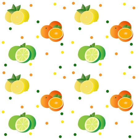 Pattern.Citrus collection. Set of fresh fruit in flat design. Lime, orange and lemon, isolated on white background. Vector illustration. Illustration