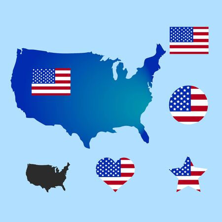 Vector USA Flag and Icon Set. United States of America flag. Image of the american flag. Memorial Day or 4th of July