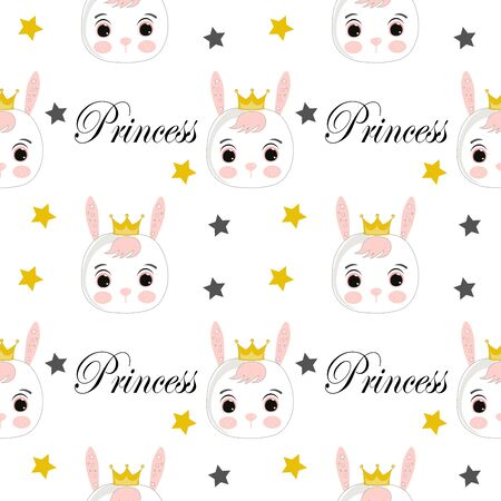 little vector rabbit girl princess. Use for print, surface design, fashion wear. Adorable character for design of album, scrapbook, card and invitation