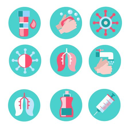 abstract flat icon set on theme coronovirus. Included icons as washing hands, cold, research, hand washing, hand wash, wash your hands regularly, cell, lungs, blood test and more Vektoros illusztráció