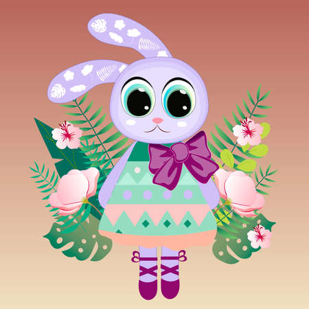 Cute Cartoon rabbit girl. vector print. Can be used for kid's clothing. Use for print, surface design, fashion wear. For design of album, scrapbook, card and invitation 2
