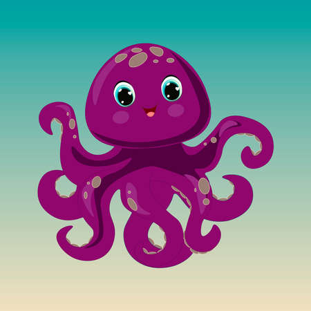 Illustration of very cute octopus. Can be used for kid's clothing. Use for print, surface design, fashion wear. For design of album, scrapbook, card and invitation