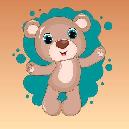 Cute Cartoon Teddy Bear. vector print. Can be used for kid's clothing. Use for print, surface design, fashion wear. For design of album, scrapbook, card and invitation Vettoriali