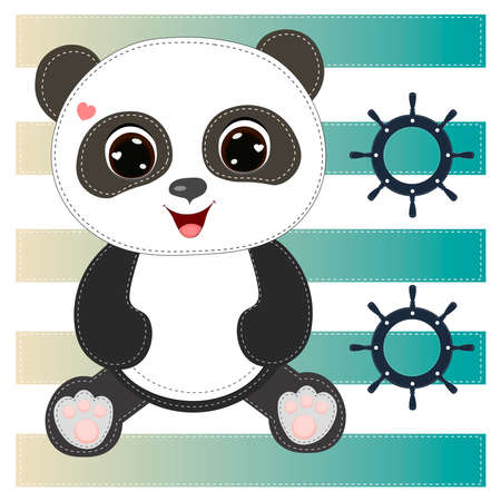Cute Panda Bear. Cartoon character. Can be used for kid's clothing. Use for print, surface design, fashion wear. For design of album, scrapbook, card and invitation