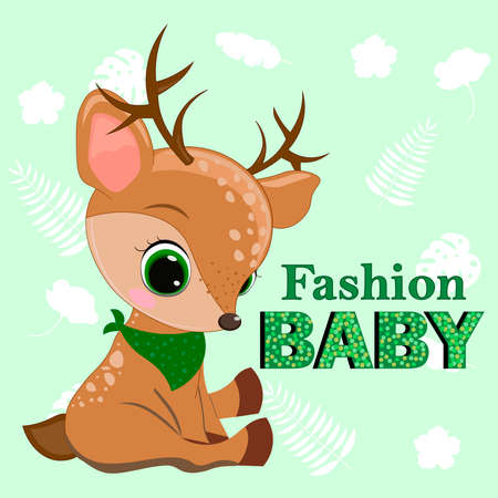 Fawn. So cute fawn. Can be used for kid's clothing. Use for print, surface design, fashion wear. Adorable character for design of album, scrapbook, card and invitation