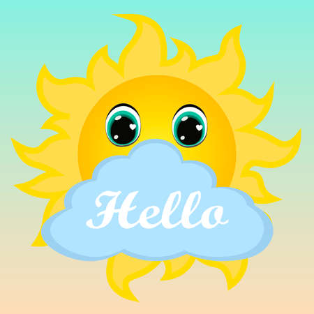 Cute sun. Can be used for kid's clothing. Use for print, surface design, fashion wear. For design of album, scrapbook, card and invitation