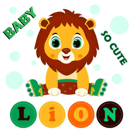Cute cartoon lion. Can be used for kid's clothing. Use for print, surface design, fashion wear. For design of album, scrapbook, card and invitation