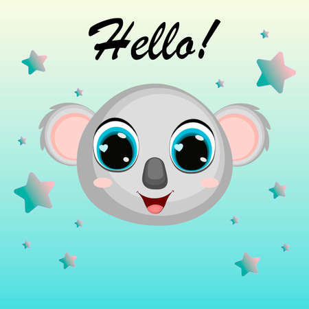 Cute cartoon koala.Hello! Can be used for kid's clothing. Use for print, surface design, fashion wear. For design of album, scrapbook, card and invitation