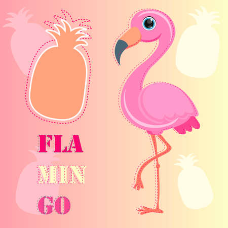 Cute cartoon flamingo with pineapple isolated on white background illustration vector.