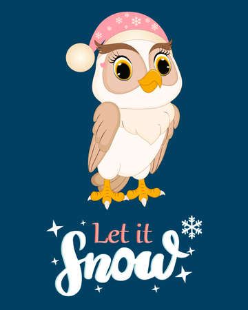 Cute owl. Lettering Let it show.Perfect for greeting cards, party invitations, posters, stickers, pin, scrapbooking, icons. Vector illustration