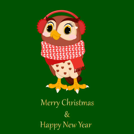 Cartoon funny owl. Perfect for greeting cards, party invitations, posters, stickers, pin, scrapbooking, icons. Vector illustration. Merry Christmas and Happy New Year