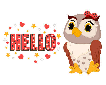 Vector illustration. Lettering HELLO. Cute owl. Perfect for greeting cards, party invitations, posters, stickers, pin, scrapbooking, icons.