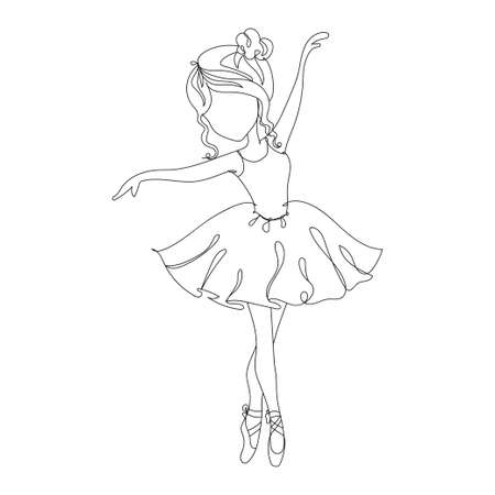 Beautiful little ballerina - one line drawing. Vector illustration continuous line drawing