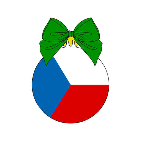 Flag of the Czech Republic on a Christmas ball. One line drawing. Vector illustration continuous line drawing. 向量圖像