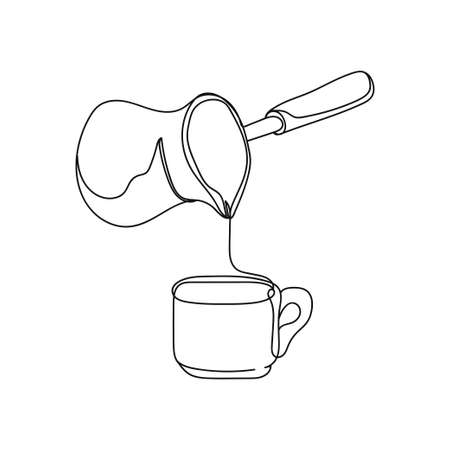 Continuous one line of freshly brewed coffee a turk for brewing in silhouette. Minimal style. Perfect for cards, party invitations, posters, stickers, clothing.