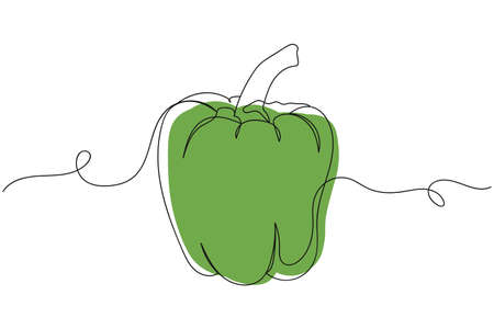Continuous one line of green pepper paprika in silhouette. Linear stylized.Minimalist.