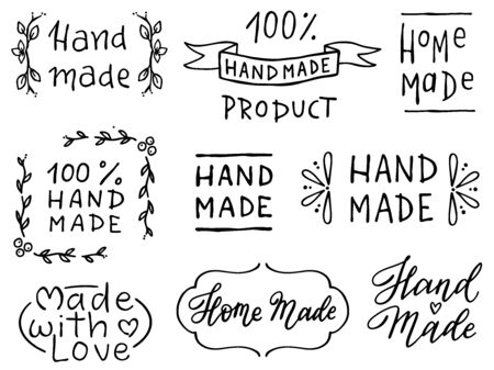 Set of hand writings Hand made, home made . Illustration