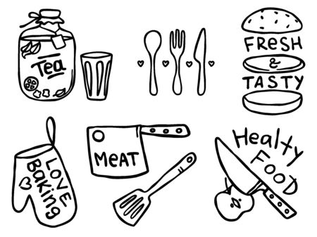 Set of hand drawn outline simple kitchen phrases about food and cute food illustrations