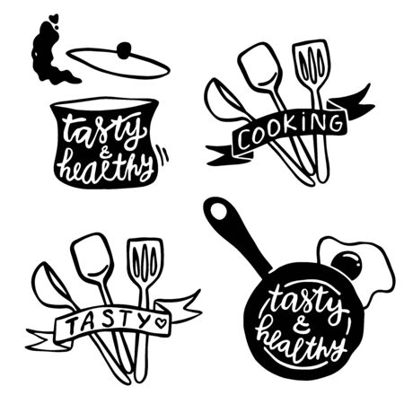 Set of hand drawn outline simple kitchen phrases about food and cute kitchen objects illustrations