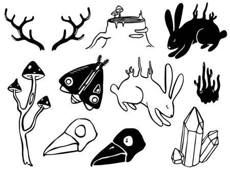 Set of mystical forest creatures. Outline black and white vector. Hand drawn illustrations. Фото со стока - 130930874