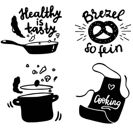 Set of retro vintage hand drawn badges, labels, logos. Elements and symbols for a restaurant menu, cafe, home cooking. Silhouette vector drawing of kitchen objects with writing tasty and healthy. Illustration