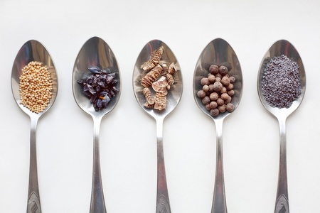Spices in metal spoons  photo